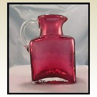 Pilgrim Glass Cranberry Jug with Clear Applied Handle