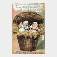 Adorable Postcard of Two Babies in a Hamper to be Delivered to Daddy
