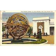 "Postcard from New York World's Fair ""The Celestial Sphere"" by Paul Manship"