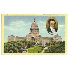 Texas State Capitol Postcard with Cameo of Stephen F. Austin
