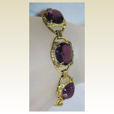 Stunning Link Bracelet with Amethyst Colored Stones