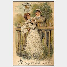 Postcard of Couple Over the Garden Fence - Remember Me