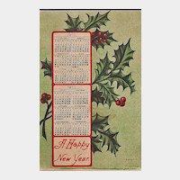 New Year Postcard 1910 Calendar