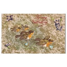 Winsch Valentine's Day Postcard with Birds and Violets