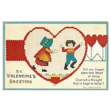 Wonderful Ellen Clapsaddle Valentine Postcard with Needlepoint Design