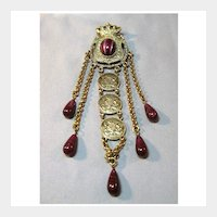 Crown, Shield and Coin Pin Brooch with Art Glass Adventurine Stones