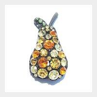 Japanned Multi-Colored Rhinestone Pear Pin