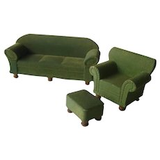 Strombecker Green Flocked Living Room Set - Miniature Sofa and Arm Chair - Dollhouse Furniture