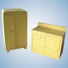 Stombecker Yellow Wooden Kitchen Appliances - Miniature Furniture - Dollhouse Furniture