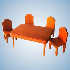 Wood Dollhouse Table and Chair Set - Dollhouse Dining Room Furniture - Doll House Miniatures