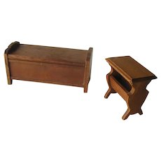 Strombecker Walnut Wood Hope Chest and Side Table - Miniature Dollhouse