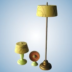 Strombecker Lamp Set - Dollhouse Furniture - Miniature Livingroom Lamps