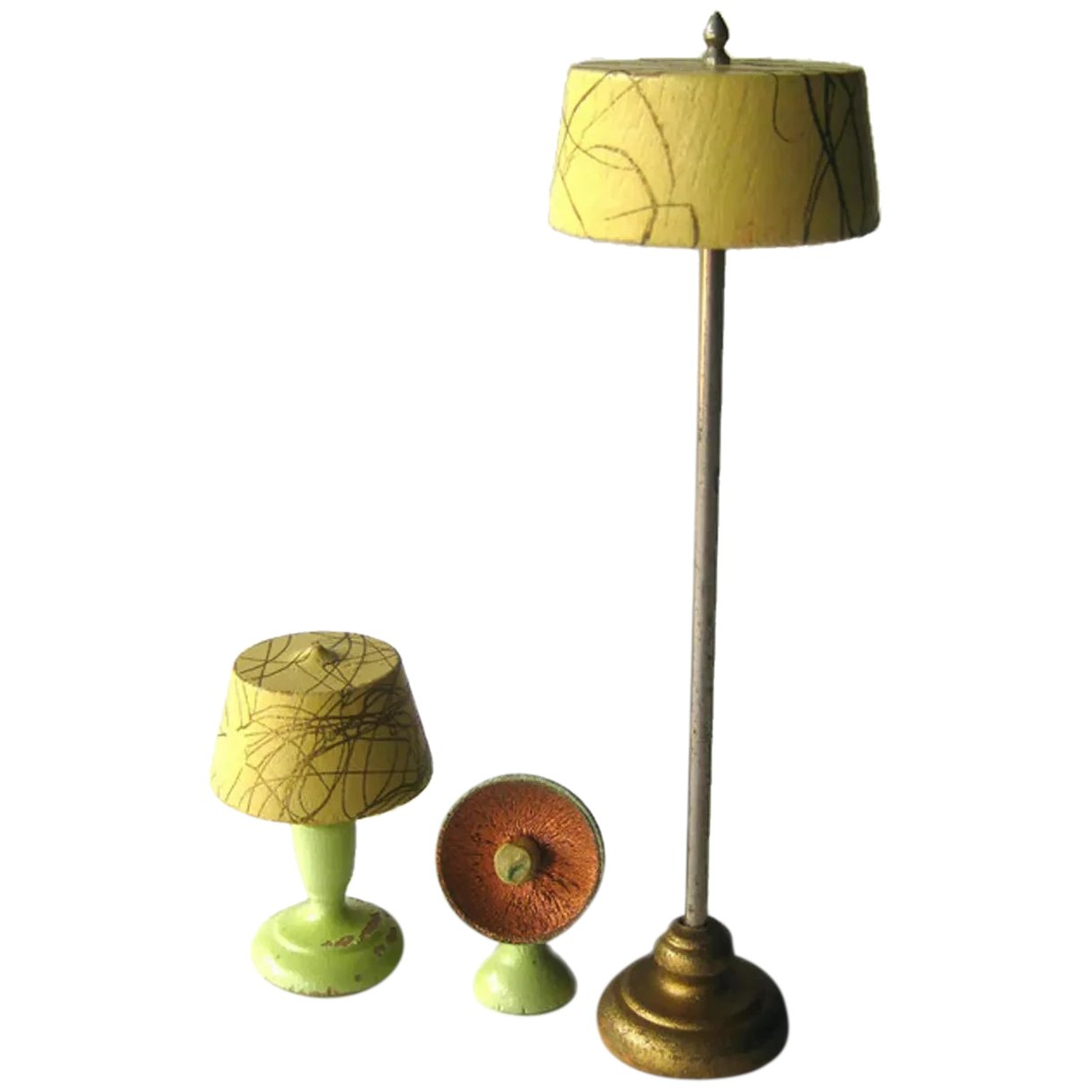 Strombecker Lamp Set Dollhouse Furniture Miniature Livingroom Lamps