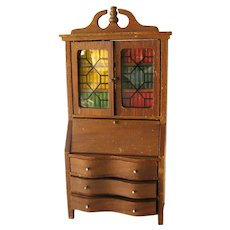 Strombecker Walnut Secretary Desk -Wooden Miniature Desk - Vintage Doll House Desk - Vintage Doll House