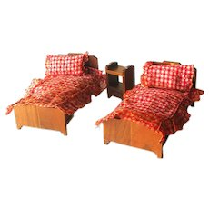 Strombecker Twin Beds and Night Stand - Miniature Dollhouse Furniture - Vintage Dollhouse