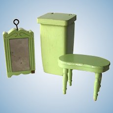 Strombecker Dollhouse Bathroom Set - Three Piece Miniature Set - Lime Green Dollhouse Furniture