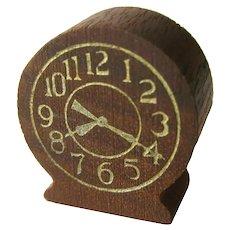 Strombecker Dollhouse Table Clock - Miniature Clock - Walnut Clock
