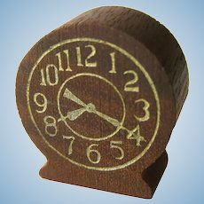 Strombecker Dollhouse Table Clock - Miniature Clock - Walnut Clock