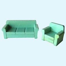 Strombecker Dollhouse Sofa and Chair - Dollhouse Living Room - Dollhouse Miniatures