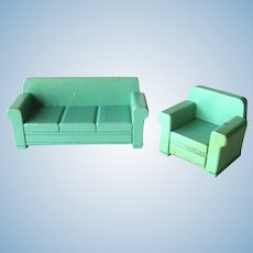 Strombecker Dollhouse Sofa and Chair - Dollhouse Living Room - Dollhouse Miniatures