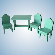 Strombecker Wood Dollhouse Table and Chair Set - Dollhouse Dining Room Furniture - Doll House Miniatures