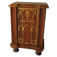 Strombecker Walnut Wood Console Radio - Miniature Dollhouse