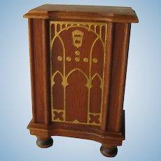 Strombecker Walnut Wood Console Radio - Miniature Dollhouse