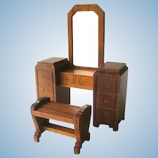 Strombecker Walnut Wood Vanity and Stool - Miniature Dollhouse