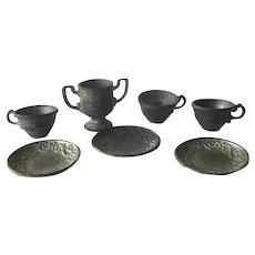 Miniature Pewter Tea Cups and Saucers and Sugar Bowl