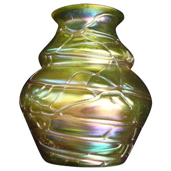 Vase Pallme Konig Threaded Bohemian Art Nouveau
