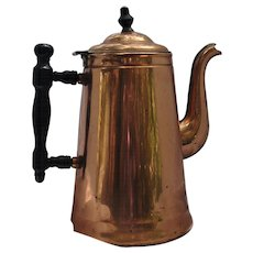 1940's Copper & Brass Coffee Pot Turned Wood Handle