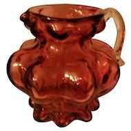 Vintage CRANBERRY glass Kanawha pitcher