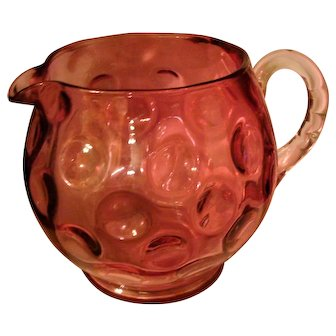 Fenton Coin Dot CRANBERRY Glass Pitcher