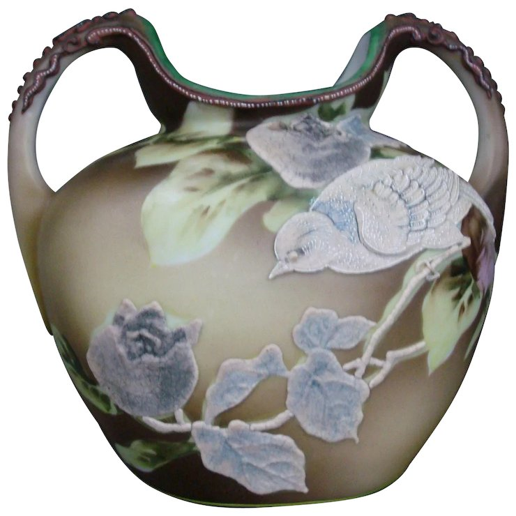 Antique Nippon Double Handled Vase Moriage Roses Sparrows Green