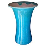 Pisgah 1947 Forest Pottery TURQUOISE Crackle Vase by Walter B. Stephen
