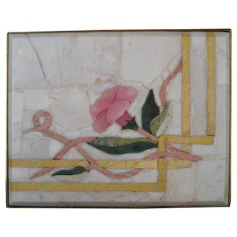 Pietra Dura PINK Floral Box Brass Suede Lined