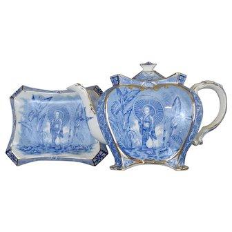 Antique Burleigh Ware Burgess & Leigh Teapot & Stand - The Geisha