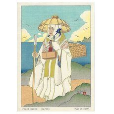 PAUL JACOULET Peleinaces Pilgrimage Japan Woodblock Print Surimono