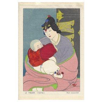 PAUL JACOULET Le Tresor, Coree (The Treasure, Korea) Japanese Woodblock Print Surimono