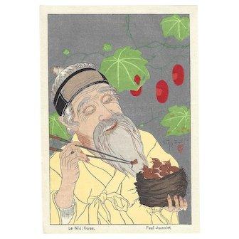 PAUL JACOULET Le Nid, Coree (The Nest, Korea) Japanese Woodblock Print Surimono