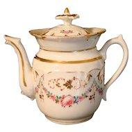19 th Century Paris Hardpaste Chocolate Pot Roses