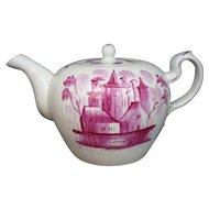 Tea Pot 18th Century Wallendorf Thuringia Puce Village Scene