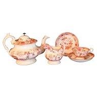 Teapot Set Pearlware Oriental 29 pieces Cups Saucers c.1840
