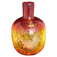 Blenko Wayne Husted VASE  Tangerine Crackle Glass Mid-Century Modern