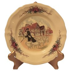 Shepherd & Sheep French Sarreguemines CAKE plate in the Obernai pattern
