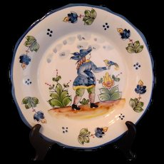 Plate Faience BLUE MAN with BIRD by Jay Willfred