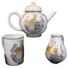 Mottahedeh Armorial TEA SET Teapot; Vista Alegre Chinese Export