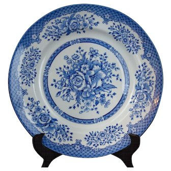 Kew Pattern Blue Dinner Plate by Wood & Sons England