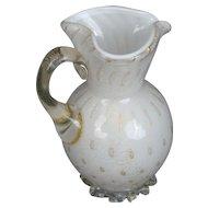 White Gold Pitcher Murano Glass Aventurine