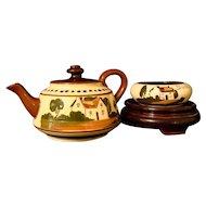 Motto Ware Cottage Teapot & Bowl Torquay Devon Pottery